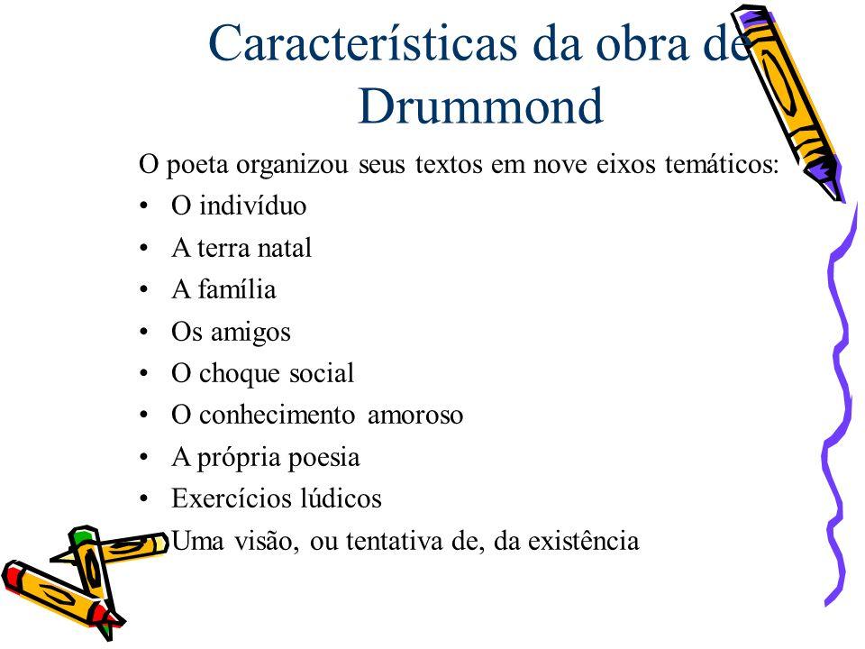 Características da obra de Drummond O poeta organizou seus textos em nove eixos temáticos: O indivíduo A terra natal A família Os amigos O choque soci