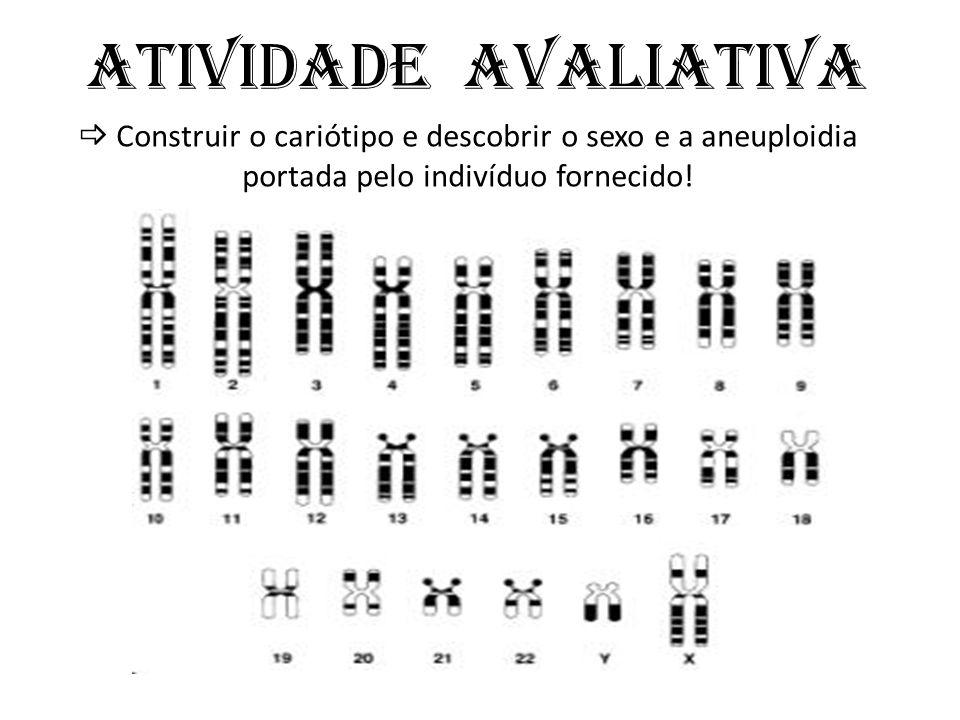Atividade avaliativa Construir o cariótipo e descobrir o sexo e a aneuploidia portada pelo indivíduo fornecido!