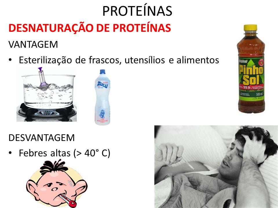 PROTEÍNAS DESNATURAÇÃO DE PROTEÍNAS VANTAGEM Esterilização de frascos, utensílios e alimentos DESVANTAGEM Febres altas (> 40° C)