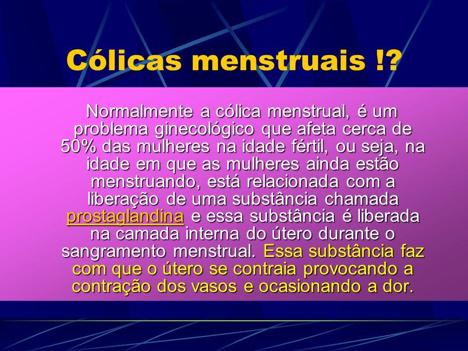 Cólicas menstruais !? Normalmente a cólica menstrual, é um problema ginecológico que afeta cerca de 50% das mulheres na idade fértil, ou seja, na idad