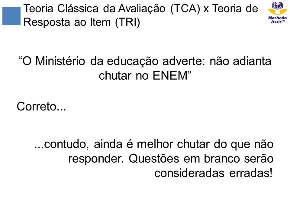 Teoria Clássica da Avaliação (TCA) x Teoria de Resposta ao Item (TRI) O Ministério da educação adverte: não adianta chutar no ENEM Correto......contud