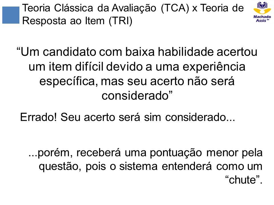 Teoria Clássica da Avaliação (TCA) x Teoria de Resposta ao Item (TRI) Um candidato com baixa habilidade acertou um item difícil devido a uma experiênc