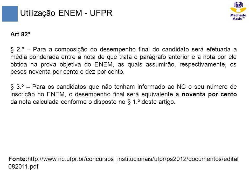 Utilização ENEM - UFPR Art 82º § 2.º – Para a composição do desempenho final do candidato será efetuada a média ponderada entre a nota de que trata o