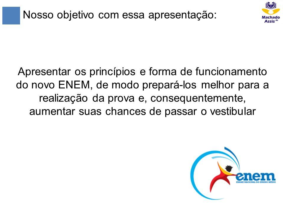 Nosso objetivo com essa apresentação: Apresentar os princípios e forma de funcionamento do novo ENEM, de modo prepará-los melhor para a realização da