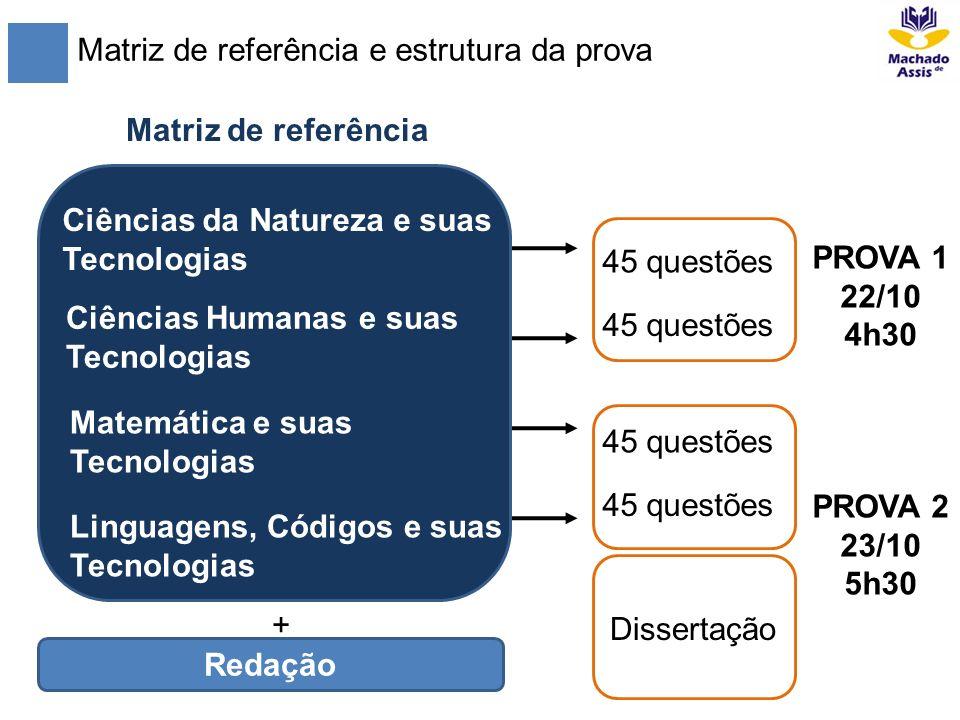 Matriz de referência e estrutura da prova Matriz de referência 45 questões Ciências da Natureza e suas Tecnologias Ciências Humanas e suas Tecnologias