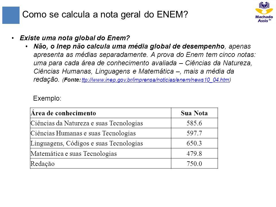 Como se calcula a nota geral do ENEM? Existe uma nota global do Enem? Não, o Inep não calcula uma média global de desempenho, apenas apresenta as médi