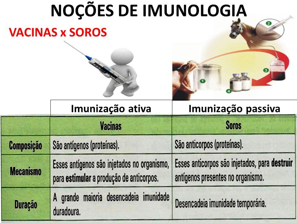 VACINAS x SOROS Imunização ativaImunização passiva NOÇÕES DE IMUNOLOGIA