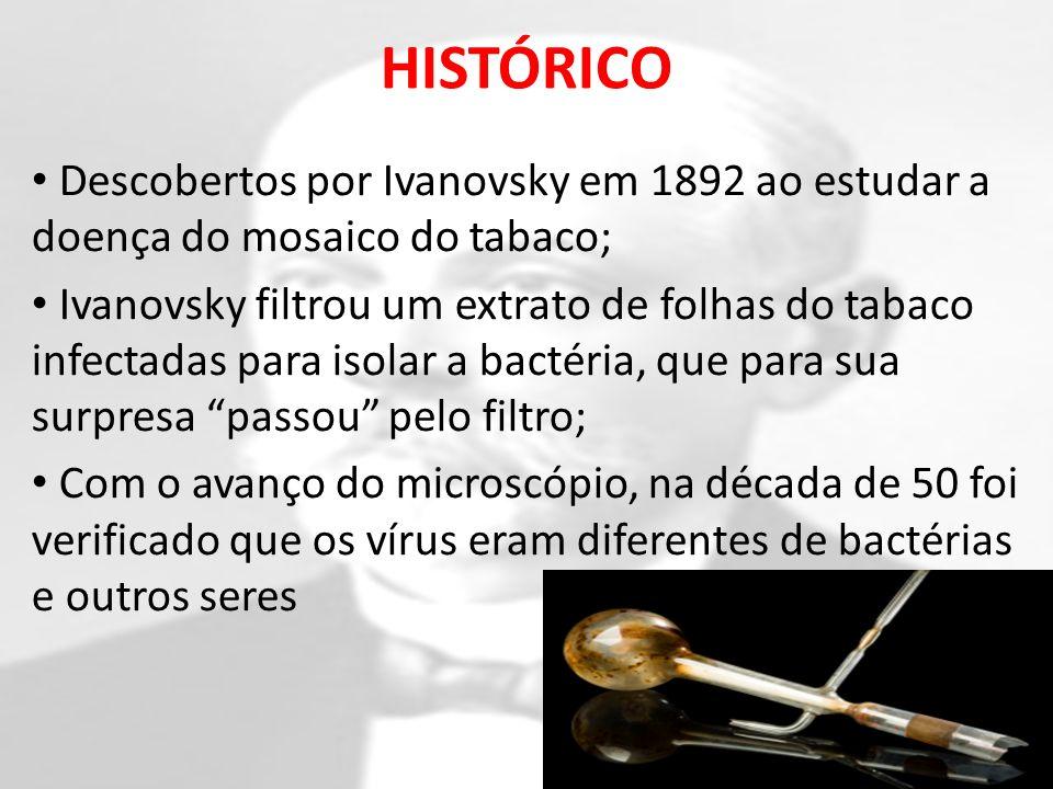 HISTÓRICO Descobertos por Ivanovsky em 1892 ao estudar a doença do mosaico do tabaco; Ivanovsky filtrou um extrato de folhas do tabaco infectadas para