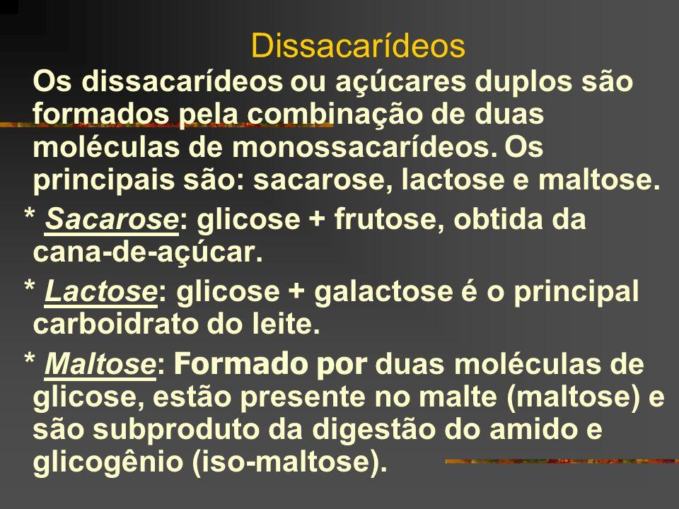 Dissacarídeos Os dissacarídeos ou açúcares duplos são formados pela combinação de duas moléculas de monossacarídeos. Os principais são: sacarose, lact