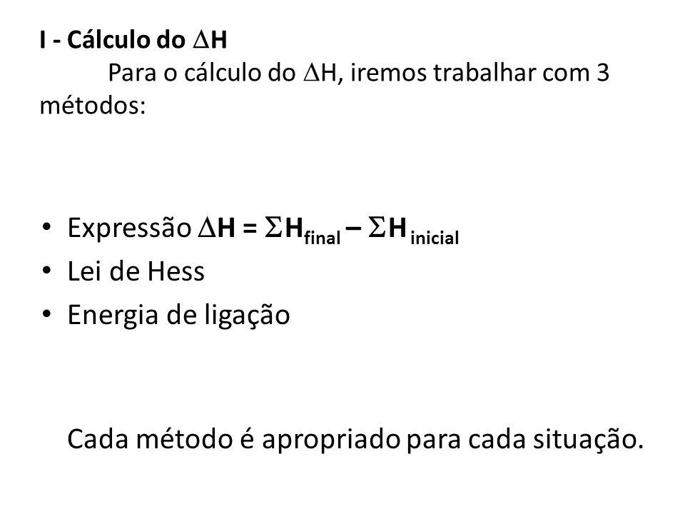 I - Cálculo do H Para o cálculo do H, iremos trabalhar com 3 métodos: Expressão H = H final – H inicial Lei de Hess Energia de ligação Cada método é a