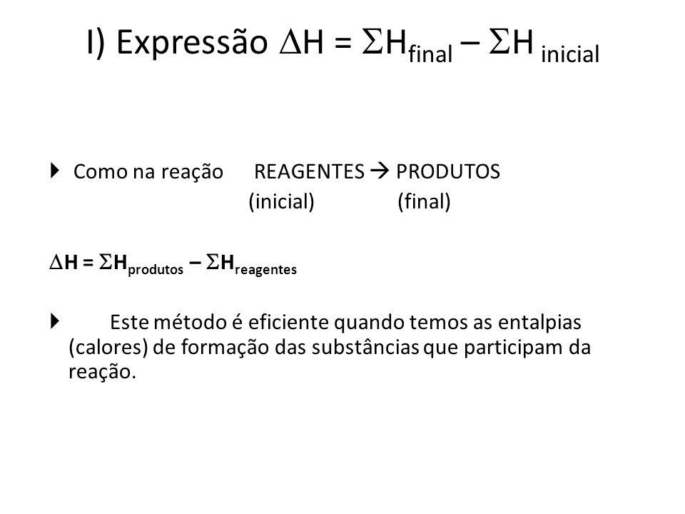I) Expressão H = H final – H inicial Como na reação REAGENTES PRODUTOS (inicial) (final) H = H produtos – H reagentes Este método é eficiente quando t