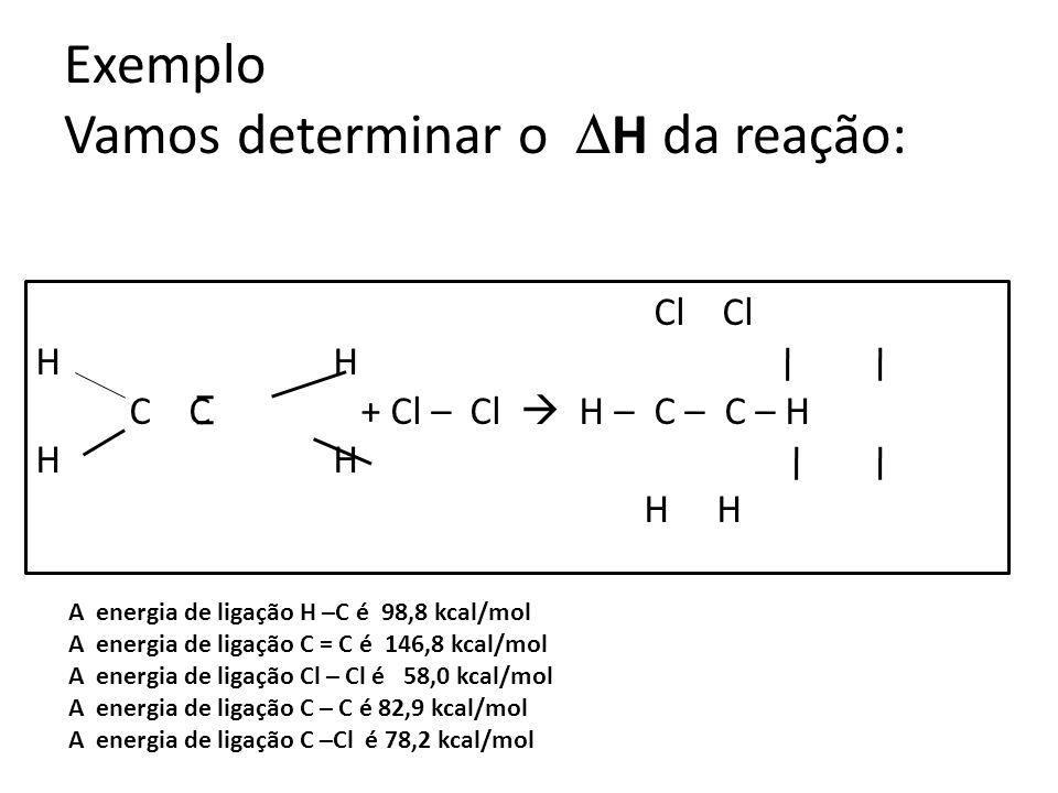 Cl Cl H C C + Cl – Cl H---C---C-- H H H H H Serão rompidas 4mols de ligação H – C (4 x 98,8) 1mol de ligação C = C (1 x 146,8) + 1mol de ligação Cl – Cl ( 1 x 58,0) H(rompidas) = + 600kcal ( é endotérmico) Serão formadas 2mols de ligações C – Cl ( 2 x -78,2) 4mols de ligações C – H ( 4 x -98,8) + 1mol de ligações C – C ( 1 x -82,9) H(formadas) = -634,5kcal (é exotérmico) H = (+600) + (-634,5) H = - 34,5 kcal.