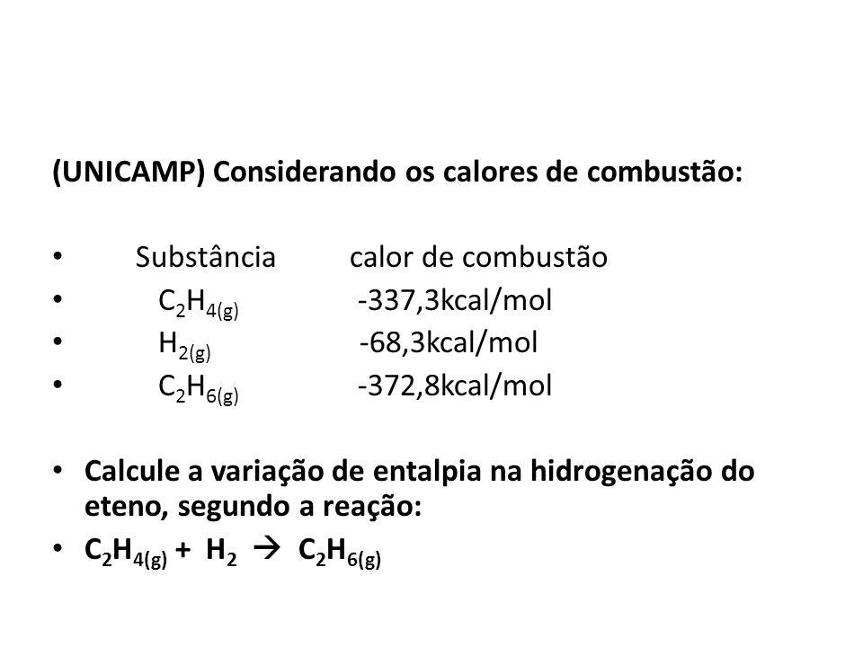 (UNICAMP) Considerando os calores de combustão: Substância calor de combustão C 2 H 4(g) -337,3kcal/mol H 2(g) -68,3kcal/mol C 2 H 6(g) -372,8kcal/mol