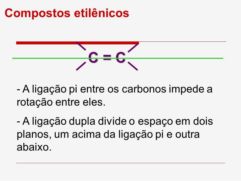 C = C Compostos etilênicos - A ligação pi entre os carbonos impede a rotação entre eles. - A ligação dupla divide o espaço em dois planos, um acima da