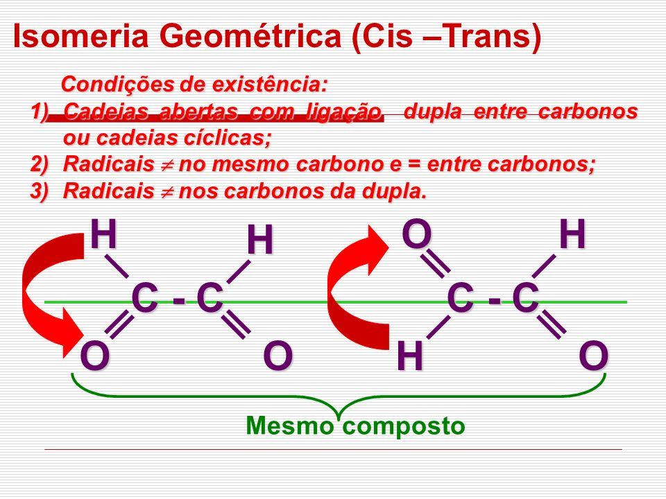 Isomeria Geométrica (Cis –Trans) Condições de existência: Condições de existência: 1)Cadeias abertas com ligação dupla entre carbonos ou cadeias cícli