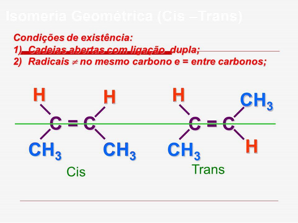 C = C CH 3 HH C = C CH 3 HH Cis TransH CH 3 HHH Isomeria Geométrica (Cis –Trans) Condições de existência: 1)Cadeias abertas com ligação dupla; 2)Radic