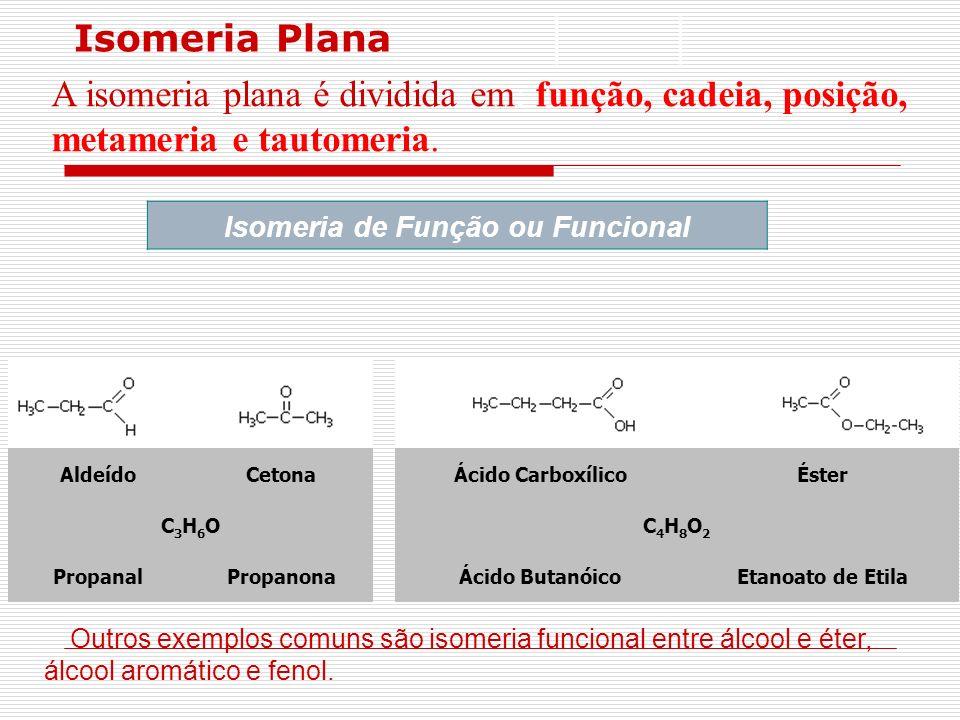Isomeria Plana A isomeria plana é dividida em: função, cadeia, posição, metameria e tautomeria. Isomeria de Função ou Funcional AldeídoCetonaÁcido Car