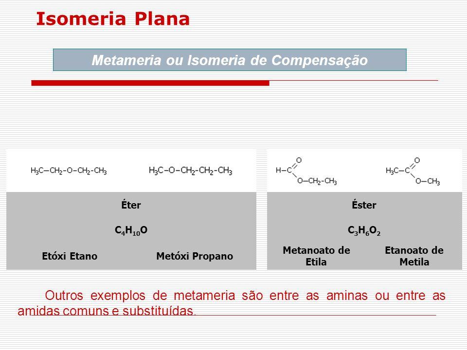 Isomeria Plana Metameria ou Isomeria de Compensação ÉterÉster C 4 H 10 OC3H6O2C3H6O2 Etóxi EtanoMetóxi Propano Metanoato de Etila Etanoato de Metila O