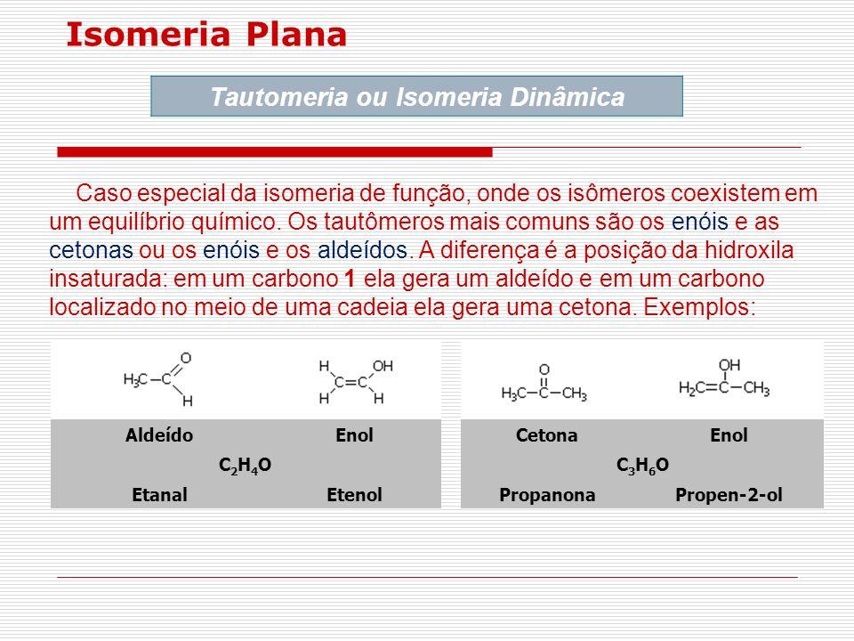 Isomeria Plana Tautomeria ou Isomeria Dinâmica Caso especial da isomeria de função, onde os isômeros coexistem em um equilíbrio químico. Os tautômeros
