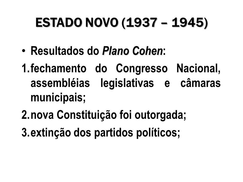 ESTADO NOVO (1937 – 1945) Plano Cohen Resultados do Plano Cohen : 1.fechamento do Congresso Nacional, assembléias legislativas e câmaras municipais; 2