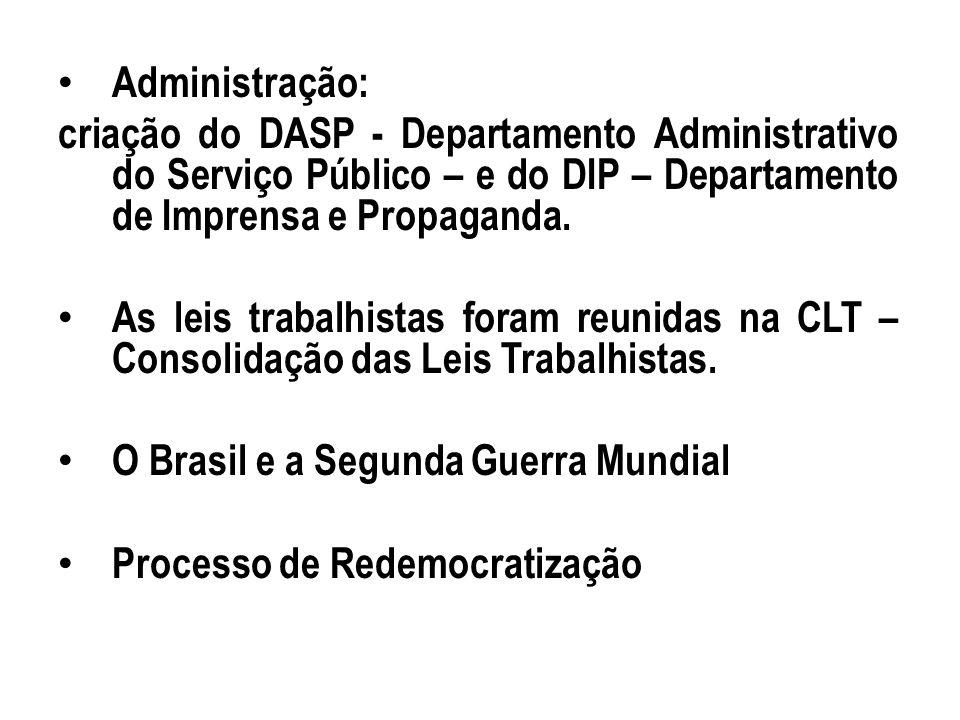 Administração: criação do DASP - Departamento Administrativo do Serviço Público – e do DIP – Departamento de Imprensa e Propaganda. As leis trabalhist