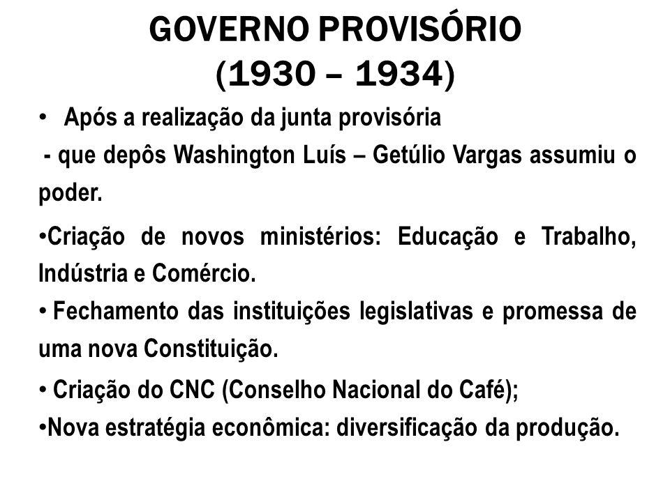 GOVERNO PROVISÓRIO (1930 – 1934) Após a realização da junta provisória - que depôs Washington Luís – Getúlio Vargas assumiu o poder. Criação de novos