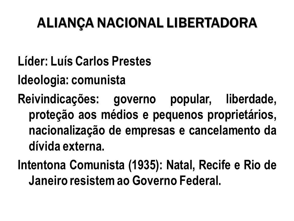 ALIANÇA NACIONAL LIBERTADORA Líder: Luís Carlos Prestes Ideologia: comunista Reivindicações: governo popular, liberdade, proteção aos médios e pequeno