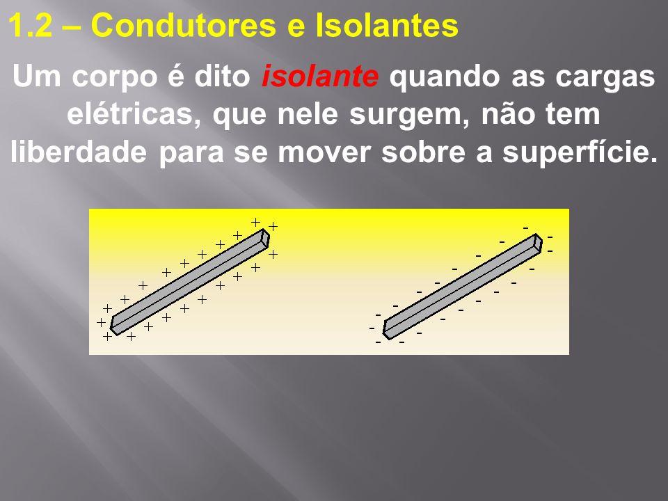 1.2 – Condutores e Isolantes Um corpo é dito isolante quando as cargas elétricas, que nele surgem, não tem liberdade para se mover sobre a superfície.