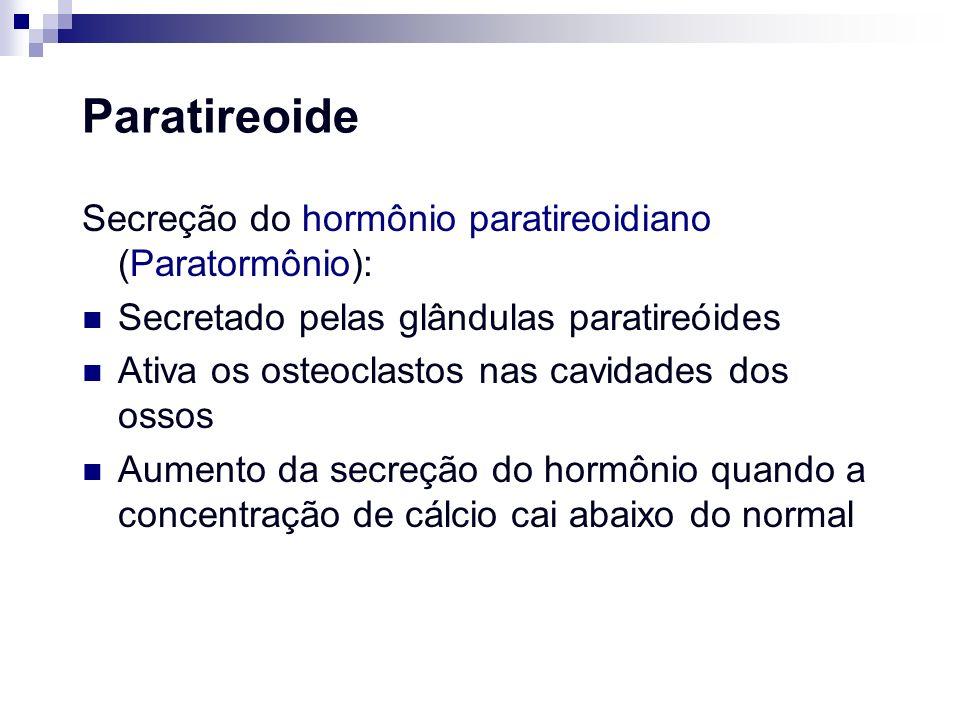 Paratireoide Secreção do hormônio paratireoidiano (Paratormônio): Secretado pelas glândulas paratireóides Ativa os osteoclastos nas cavidades dos osso