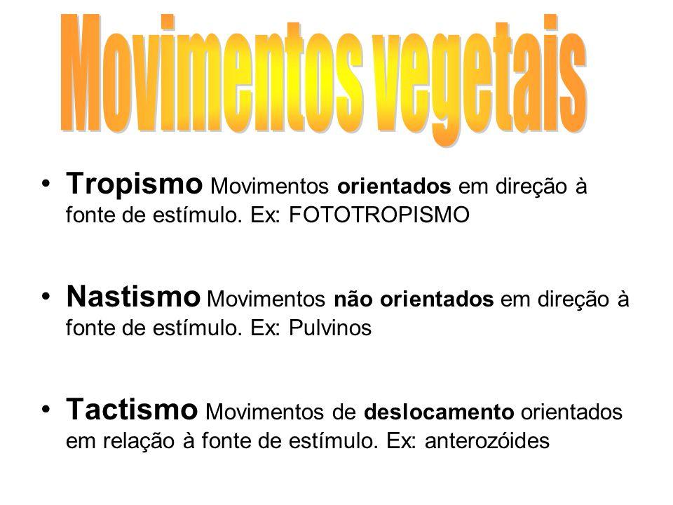 Tropismo Movimentos orientados em direção à fonte de estímulo. Ex: FOTOTROPISMO Nastismo Movimentos não orientados em direção à fonte de estímulo. Ex: