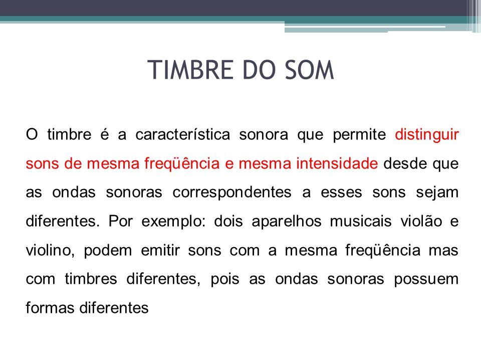 O timbre é a característica sonora que permite distinguir sons de mesma freqüência e mesma intensidade desde que as ondas sonoras correspondentes a es