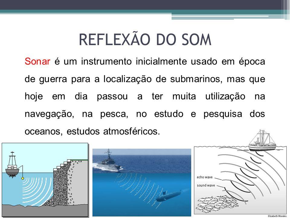 Sonar é um instrumento inicialmente usado em época de guerra para a localização de submarinos, mas que hoje em dia passou a ter muita utilização na na