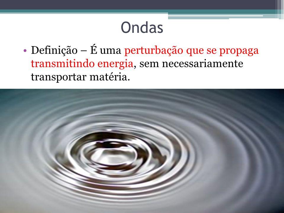 Ondas Definição – É uma perturbação que se propaga transmitindo energia, sem necessariamente transportar matéria.