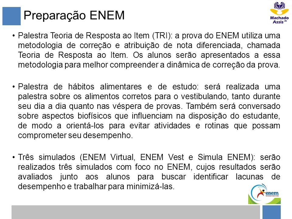 Preparação ENEM Palestra Teoria de Resposta ao Item (TRI): a prova do ENEM utiliza uma metodologia de correção e atribuição de nota diferenciada, cham
