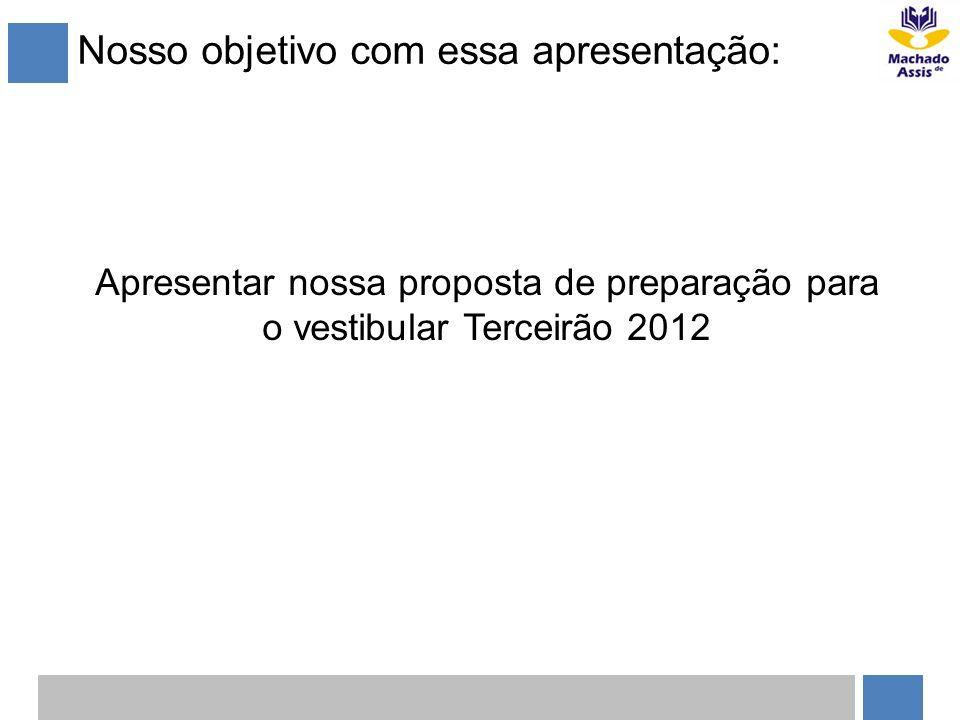 Nosso objetivo com essa apresentação: Apresentar nossa proposta de preparação para o vestibular Terceirão 2012