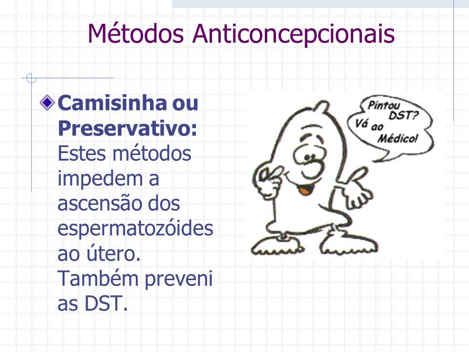 Métodos Anticoncepcionais Camisinha ou Preservativo: Estes métodos impedem a ascensão dos espermatozóides ao útero. Também preveni as DST.