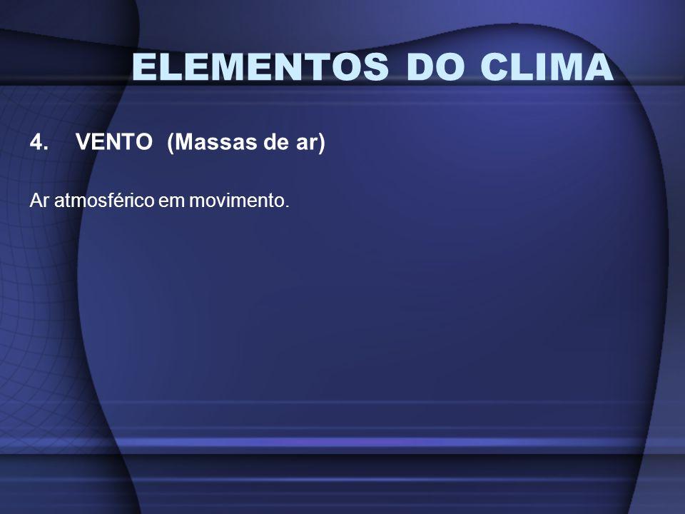 ELEMENTOS DO CLIMA 4.VENTO (Massas de ar) Ar atmosférico em movimento.