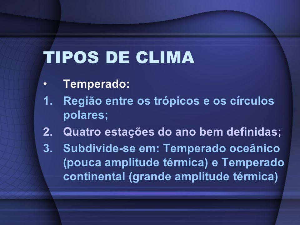 TIPOS DE CLIMA Temperado: 1.Região entre os trópicos e os círculos polares; 2.Quatro estações do ano bem definidas; 3.Subdivide-se em: Temperado oceân