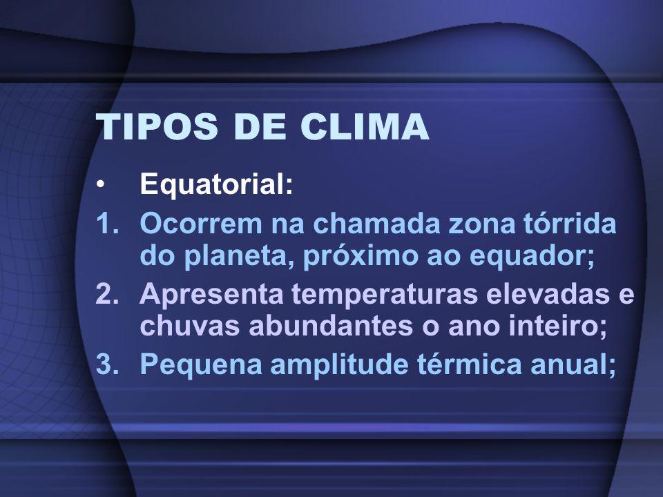 TIPOS DE CLIMA Equatorial: 1.Ocorrem na chamada zona tórrida do planeta, próximo ao equador; 2.Apresenta temperaturas elevadas e chuvas abundantes o a