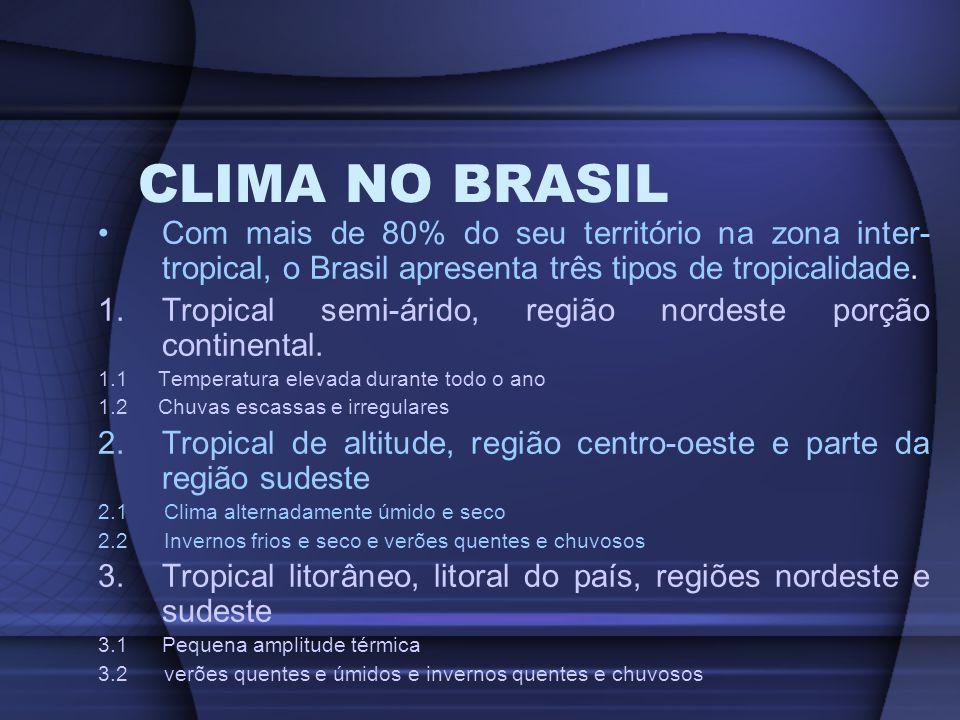 CLIMA NO BRASIL Com mais de 80% do seu território na zona inter- tropical, o Brasil apresenta três tipos de tropicalidade. 1.Tropical semi-árido, regi