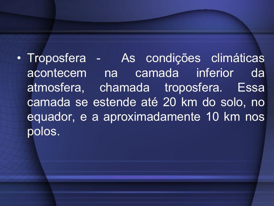 Troposfera - As condições climáticas acontecem na camada inferior da atmosfera, chamada troposfera. Essa camada se estende até 20 km do solo, no equad