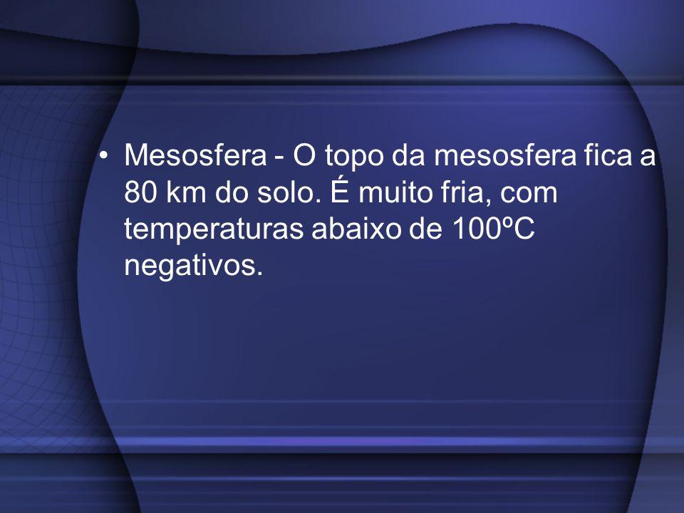 Mesosfera - O topo da mesosfera fica a 80 km do solo. É muito fria, com temperaturas abaixo de 100ºC negativos.