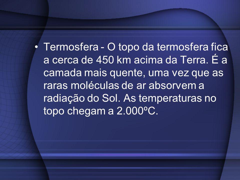 Termosfera - O topo da termosfera fica a cerca de 450 km acima da Terra. É a camada mais quente, uma vez que as raras moléculas de ar absorvem a radia