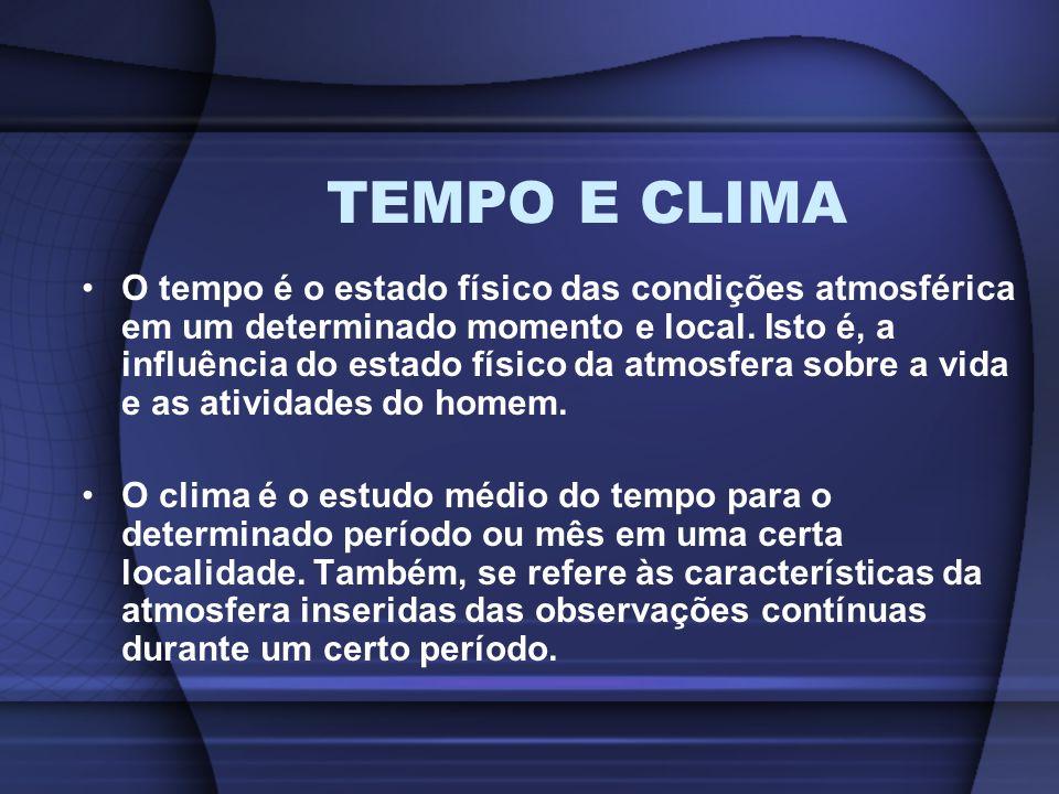 TEMPO E CLIMA O tempo é o estado físico das condições atmosférica em um determinado momento e local. Isto é, a influência do estado físico da atmosfer