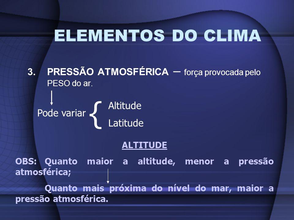 ELEMENTOS DO CLIMA 3.PRESSÃO ATMOSFÉRICA – força provocada pelo PESO do ar. Pode variar { Altitude Latitude ALTITUDE OBS: Quanto maior a altitude, men