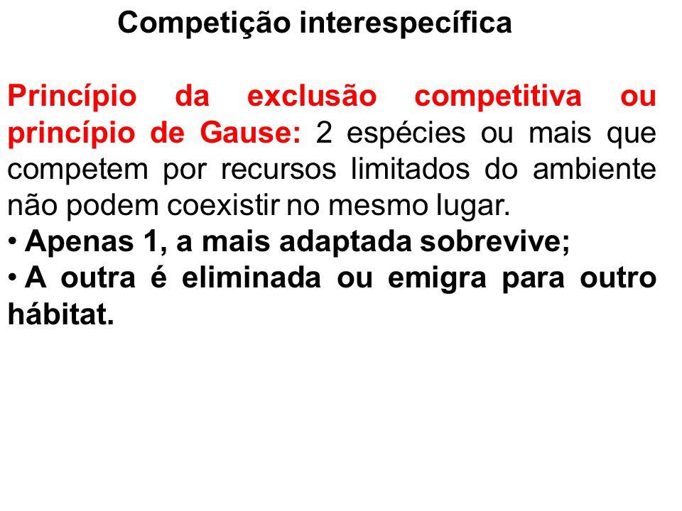 Competição interespecífica Princípio da exclusão competitiva ou princípio de Gause: 2 espécies ou mais que competem por recursos limitados do ambiente