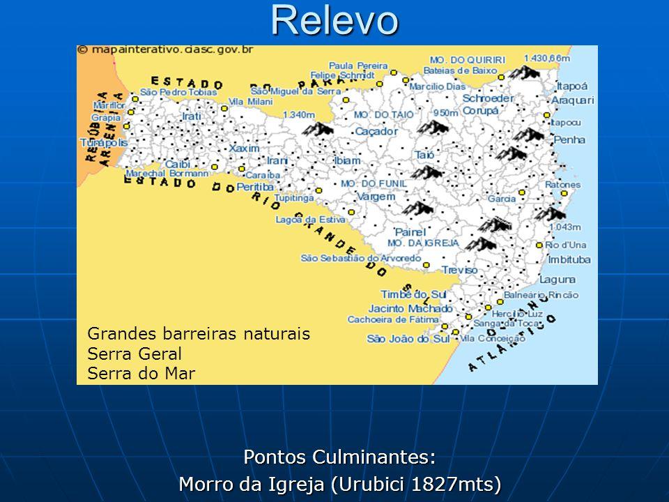 Relevo Pontos Culminantes: Morro da Igreja (Urubici 1827mts) Grandes barreiras naturais Serra Geral Serra do Mar