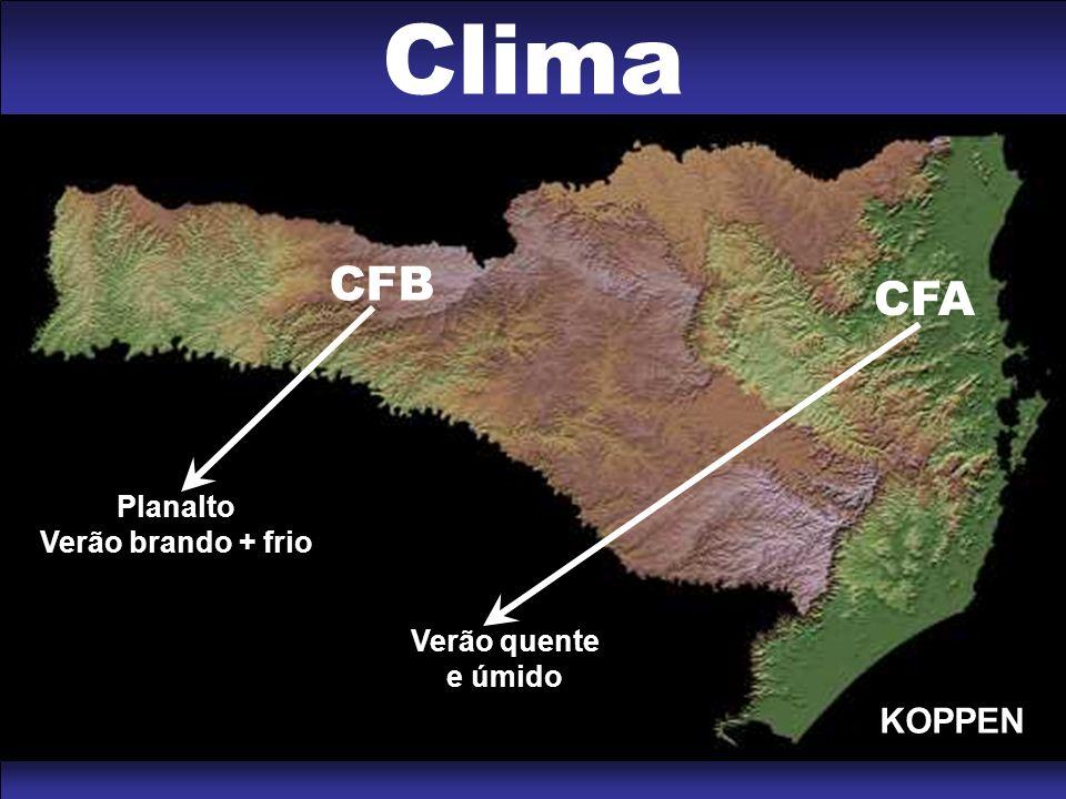 CFB Planalto Verão brando + frio CFA Verão quente e úmido Clima KOPPEN