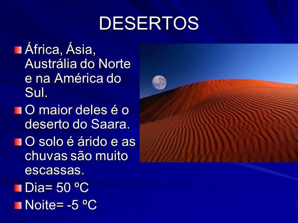 DESERTOS África, Ásia, Austrália do Norte e na América do Sul. O maior deles é o deserto do Saara. O solo é árido e as chuvas são muito escassas. Dia=