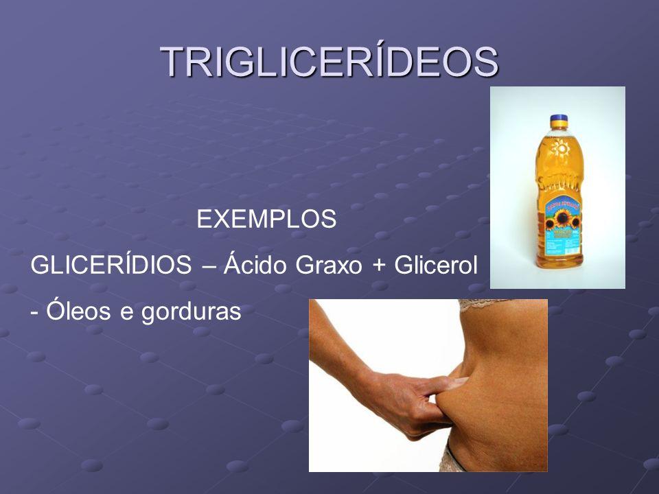 TRIGLICERÍDEOS EXEMPLOS GLICERÍDIOS – Ácido Graxo + Glicerol - Óleos e gorduras